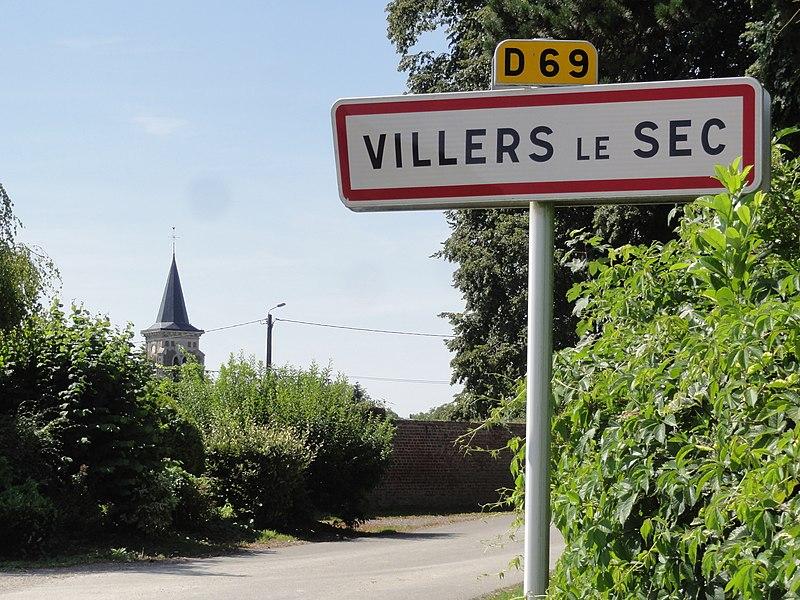 Villers-le-Sec (Aisne) city limit sign