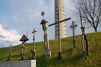 January Events (Lithuania) - The memorial to the victims near the TV tower. The crosses have since been moved inside the TV tower.