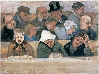 Church Pew with Worshippers - Image: Vincent van Gogh Church Pew with Worshippers (F967)