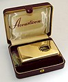 Vintage Acousticon Model A-335 Transistor (Body) Hearing Aid, Gold Anodized Aluminum Case, 3 Transistors, Made In USA, Circa 1953 (40994095625).jpg