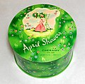 Vintage April Showers Powder By Cheramy, Metal Litho. Tin, 4.25 Inches In Diameter, Made In USA (30995737482).jpg