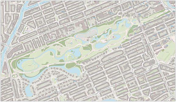 Topografische kaart van het Vondelpark
