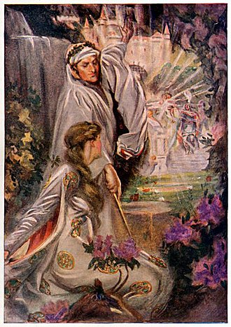 Lady of the Lake -  Merlin and Vivienne, Otway McCannell's illustration for Lewis Spence's Legends and Romances of Brittany (1917)