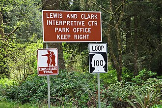 Washington State Route 100 - Signage along SR 100 within Cape Disappointment State Park