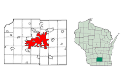 Location of Madison in Dane County, Wisconsin