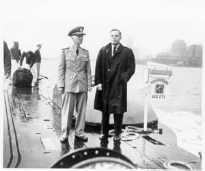Waldo K. Lyon - Dr. Waldo Lyon with Admiral Hyman G. Rickover aboard the USS Nautilus