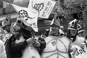 "1999 Seattle WTO protests - The ""turtles"": protestors in sea turtle costumes"
