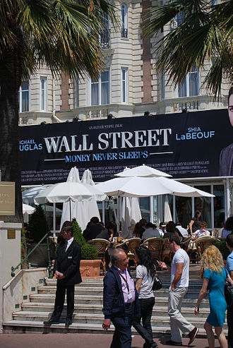 Wall Street: Money Never Sleeps - An advertisement for Wall Street: Money Never Sleeps at the 2010 Cannes Film Festival