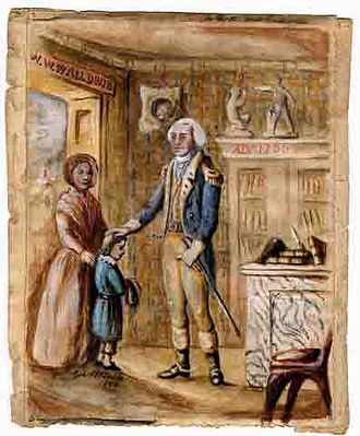 Washington Irving - Watercolor of Washington Irving's Encounter with George Washington, painted in 1854 by George Bernard Butler, Jr.