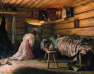 Icon corner - The Sick Man by Vasili Maximov (1881), portrays a woman kneeling in prayer before the icon corner (Tretyakov Gallery, Moscow).