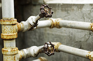 Valve - These water valves are operated by handles.