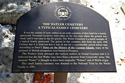 "Watler Cemetery Grand Cayman Plaque, ""The Watler Cemetery A Typical Family Cemetery"" Watler Cemetery Grand Cayman Plaque - The Watler Cemetery.jpg"