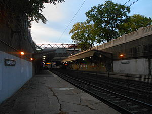 Watsessing Avenue station - Watsessing Avenue Station as viewed from its outbound platform, showing results of rehabilitation project undertaken in 2008.