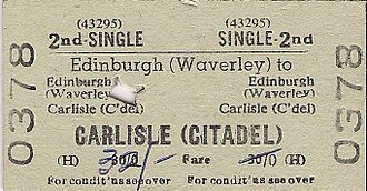 Train ticket - A Scottish rail ticket from the 1970s. The hole punched through the ticket shows that it has been checked by a conductor.
