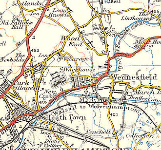 Wednesfield - Map of Wednesfield in 1921.