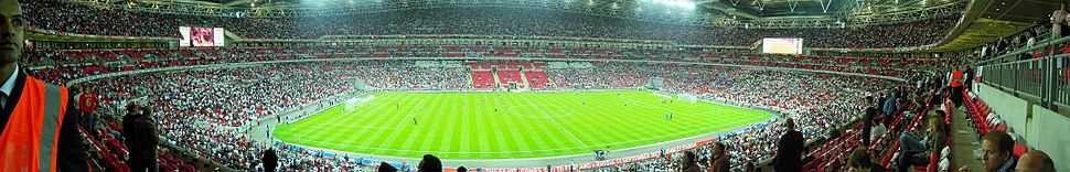 A panorama of Wembley during the half time period of an England game