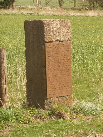 The Robbers Stone, West Lavington, Wiltshire. This memorial warns against thieving by recording the fate of several who attempted highway robbery on the spot in 1839 West Lavington, the Robbers Stone - geograph.org.uk - 1238637.jpg