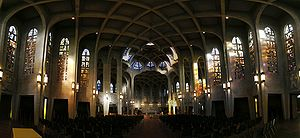 Westminster Abbey (British Columbia) - Panoramic image of the interior of the church.