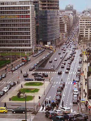 Rue de la Loi - Looking west down on the portal to the Loi tunnel, from the former JECL Building (2006)