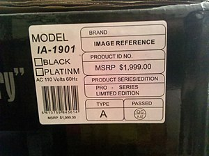 Fraud - A fraudulent Manufacturer's Suggested Retail Price on a speaker.