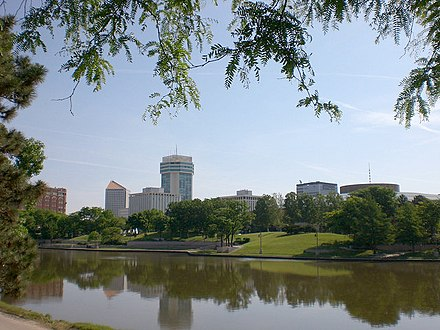 Downtown Wichita viewed from the west bank of the Arkansas River (2010) - Wichita, Kansas