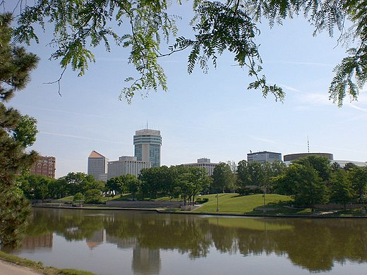 Downtown Wichita viewed from the west bank of the Arkansas River - Wichita, Kansas