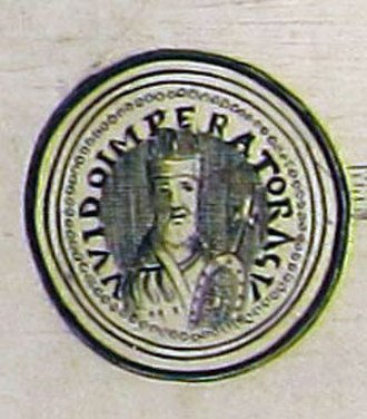 Guy III of Spoleto - Seal of king Guy on a paper from his coronation, Pavia, 889 AD