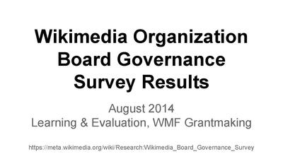Wikimedia organization board governance survey 2014