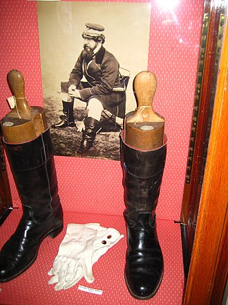 William Howard Russell - Display at the Frontline Club featuring the boots of William Howard Russell