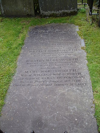 1850 in poetry - Gravestone of William Wordsworth, Grasmere, Cumbria