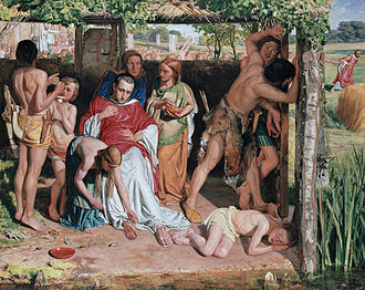 Persecution of Christians - A Converted British Family Sheltering a Christian Missionary from the Persecution of the Druids, a scene of persecution by druids in ancient Britain painted by William Holman Hunt.