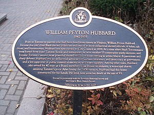 William Peyton Hubbard - Hubbard House historical plaque