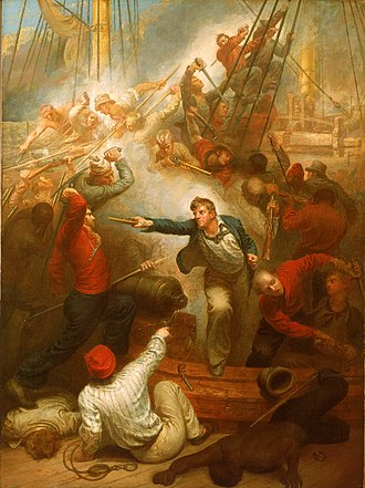 """Post Office Packet Service - """"Captain William Rogers Capturing the Jeune Richard, 1 October 1807"""", by Samuel Drummond"""