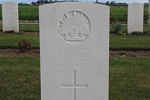 William Tasker - Tasker's grave at Villers-Bretonneux