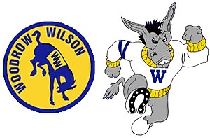 Woodrow Wilson High School (Los Angeles) - Mules mascot in the 1960-70s era (left) and the 1990s-present era (right)