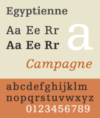 A sample of the typeface Egyptienne, a slab serif face based on the Clarendon model.