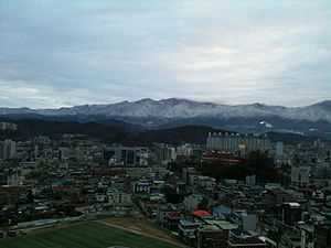 Yeongseo - Skyline of Wonju, which is the biggest city in Yeongseo region
