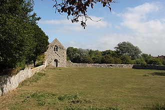 Woodspring Priory - The site of the cloister from the west