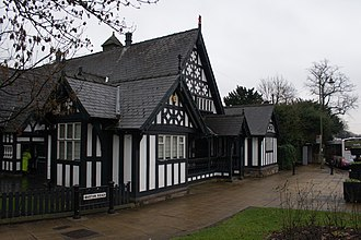 Worsley - Worsley Court House, a Grade II listed building. Built in 1849 for Francis Egerton, it was originally the court leet and village hall.