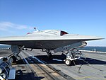 X-47B on deck of Truman after conclusion of taxi tests.jpg