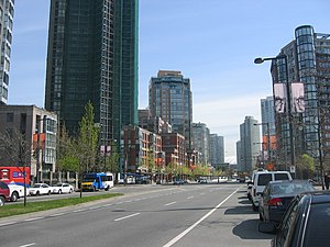 Yaletown - Pacific Boulevard, one of the major roads in Yaletown.
