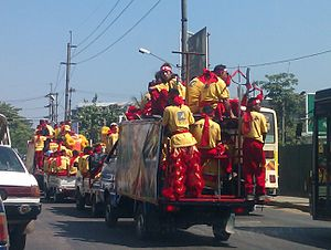 Chinese people in Myanmar -  Celebrating tour in the Chinese New Year; mainly from tan (colour) Chinese teenagers, Yangon