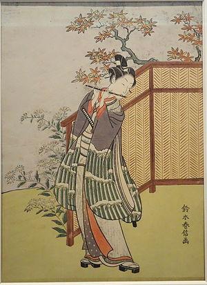 Suzuki Harunobu - Young Man Playing Flute