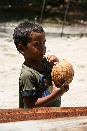 Young boy drinking a coconuts with a straw, in Fakarava atoll 20061106.jpg