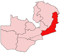 Map of Zambia showing the Eastern Province