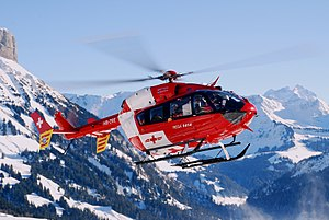 Air medical services - A Eurocopter EC 145 of Switzerland's Rega air rescue service