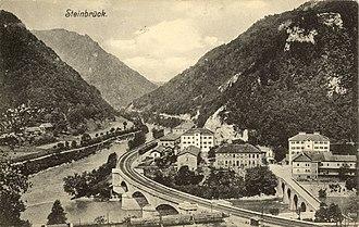Savinja - The confluence of the Sava and the Savinja at Zidani Most, where the Savinja is traversed by three bridges. The photo was taken in 1914, before the construction of the new railroad bridge.