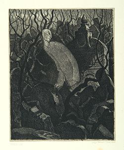 """At the master's grave"", page 4 from the book ""Der Golem"", illustrated by Hugo Steiner-Prag"