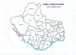 """Kirkcudbrightshire - Image: """"aa Kirkcudbrightshire, Civil Parish map"""""""