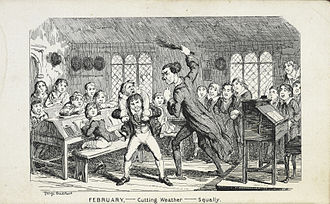 Birching - 1839 caricature by George Cruikshank of a school flogging